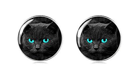 Tizi Jewellery 925 Sterling Silber Schwarze Katze Ohrring Ohrstecker 12 mm Handgemacht für Damen und Mädchen Rerfektes Geschenk oder für Party
