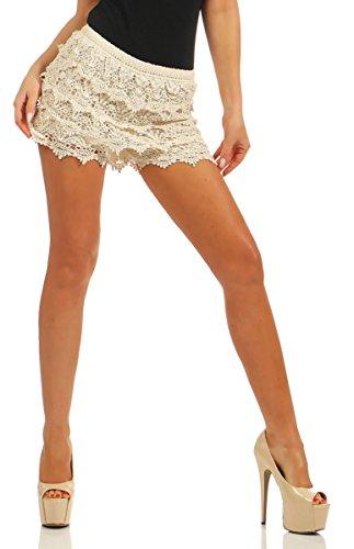 Nylon-spitze High-cut (Fashion4Young Damen Shorts Hotpants Spitze Double-Layer Gummizug Party Sommer (beige, 34-36))