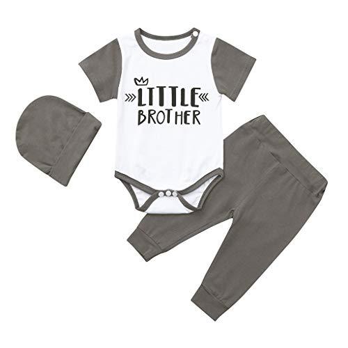 MRURIC Baby Overall,Neugeborene Kinder Baby Jungen Outfits Brief Print Strampler Jumpsuit + Pants + Hat Set,Jumpsuit Einfarbige Bodysuit Säugling Spielanzug Schlafanzug Kinderkleidung