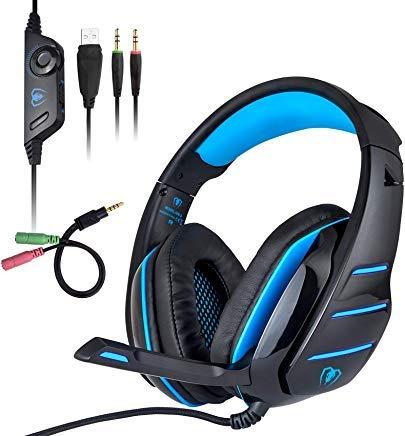 PS4 Headset, Gaming Headset für Xbox One PS4 PC, Surround Stereo Sound Over-Ear Kopfhörer mit Noise Cancelling Mikrofon, LED-Lichter, Lautstärkeregler für Laptop, Mac, Nintendo Switch Games