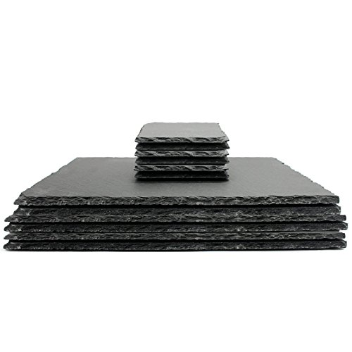 Natural Slate Placemats With Coasters Quality Contemporary Kitchenware M&W 12pc New -