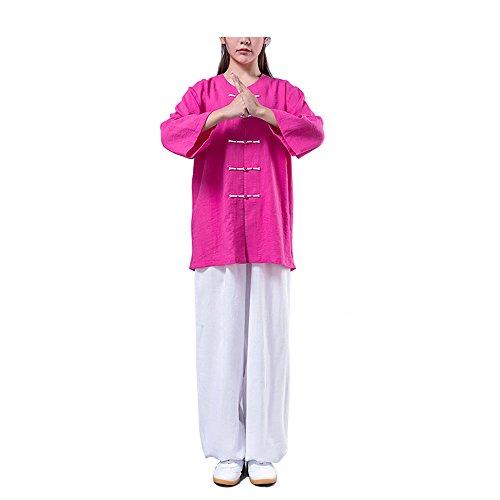 KIKIGOAL Femmes Linge de Coton Tai Chi Costume Arts Martiaux Kung FU Vêtements ( Un Ensemble ) Rose