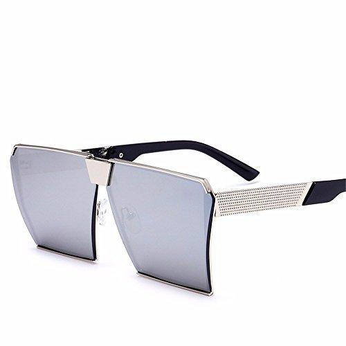 Sonnenbrille/Herren-Sonnenbrille/Persönlichkeit rundes Gesicht große Rahmen/Sonne Augen, Silber Frame Quecksilber