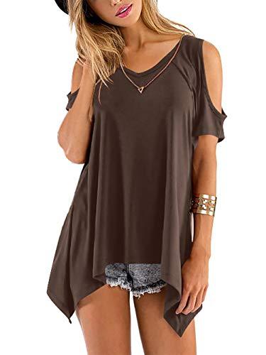 Beluring Oberteil Damen Lose Bluse Shirt V-Ausschnitte Kurz Ärmel T-Shirt Tops,Braun L -