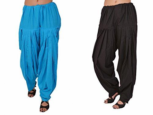 Stylenmart Combo Offers - Pack of Ferozi and Black Cotton Patiala Salwar