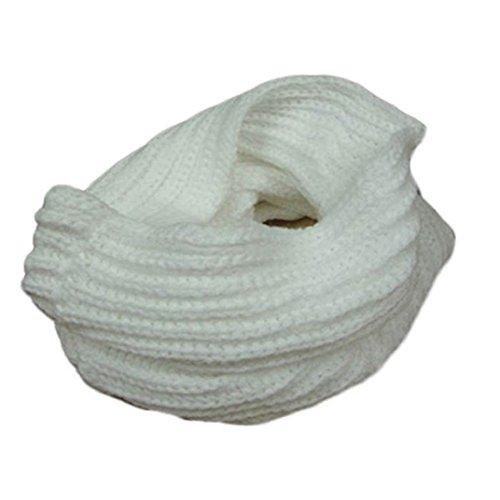 Transer ® Femelle Écharpes,Mode féminine chaud tricot cou Cercle laine mélangée Cowl Snood polyvalent en laine Écharpe Promotion Hot en Europe Blanc