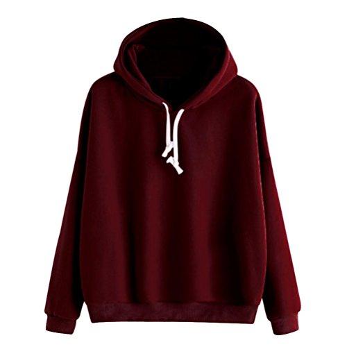ts Damen einfarbig Langarmshirt warm Mode Herbst Pulli Freizeit M?dchen locker elegant Sweatshirt Tops Sport Outdoor Pullover (M, Weinrot) ()