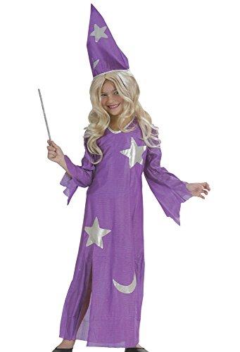 Zauberin Kinder Karneval Halloween Kostüm Kleid Lila Fasching Hexe Zauber Fee (116) (Kostüm Zauberin Mädchen)