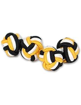 Seidenknoten Manschettenknöpfe | Knoten | Schwarz-Weiß-Gold-Gelb | Stoff Seidenknötchen | Handgefertigt | Für...