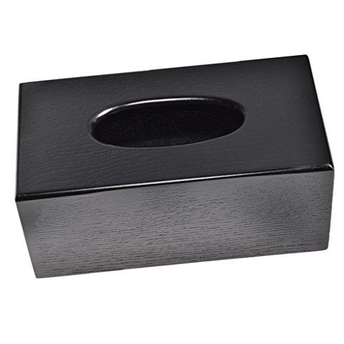 Gazechimp Kosmetikbox Holz Tissuebox - Schwarzes Rechteck, 23x12x10cm
