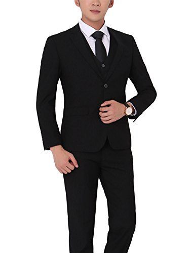 Costume Homme Trois-Pièces Veste Gilet et Patalon Slim Fit Elegant Deux Boutons Bussiness Mariage Noir