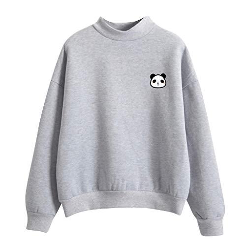 Panda Deluxe Kostüm Kind - kolila Damen Langarmshirts Tops Sweatshirts Pullover Lose Beiläufige Cute Panda Print Einfarbig Rundhalsausschnitt Warm Plus Samt