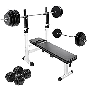 Weight Bench Training Set with Dip Station (EZ Curl Bar + 2 Dumbbells + Barbell) for Home Gym Fitness by Physionics