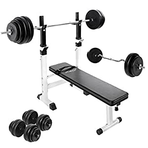 Weight Bench Training Set With Dip Station Ez Curl Bar