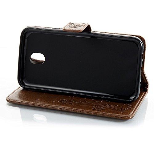 EKINHUI Case Cover Horizontale Folio Flip Stand Muster PU Leder Geldbörse Tasche Tasche mit geprägten Blumen & Lanyard & Card Slots für Samsung Galaxy J7 2017 European Edition ( Color : Black ) Coffee