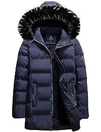 63774c2f4f3e OHQ Herren Daunenjacken Wasserabweisend Daunenmantel Mode Lang Kälteschutz  Warm Verdickte Winterjacke mit Kapuze