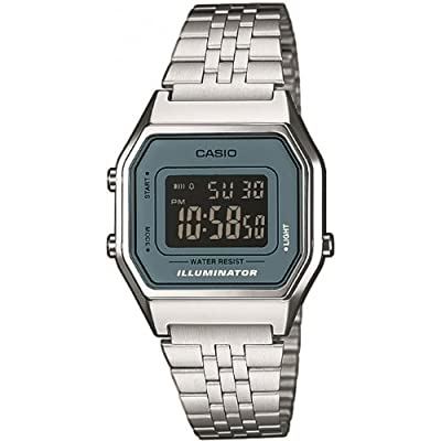 Casio Collection LA680WEA-2BEF correa de acero inoxidable color plateado (luz, alarma, cronómetro)