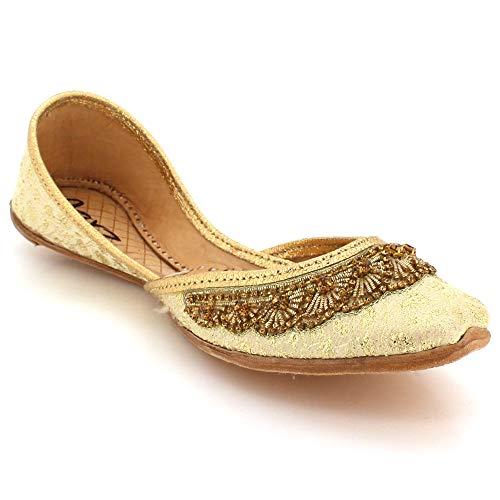 Frau Damen Kristall Vamp Detail Traditionell indisch Hochzeit Braut Abend Party Handgefertigt Leder Khussa Pumps Schuhe Gold Größe 40 -