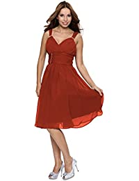 Astrapahl Festliches Kleid knielang Abendkleid Cocktailkleid breite Träger Herbstfarbe rostrot