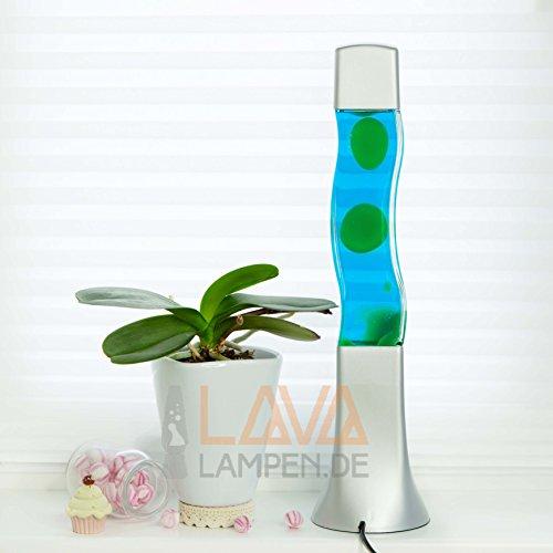 """Quadratische Lavalampe """"Beckster"""", Flüssigkeit blau, Wachs grün 41cm hoch Lavaleuchte"""