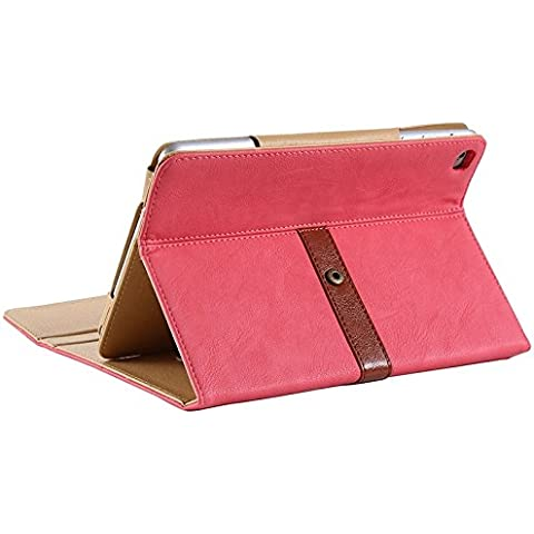Wkae Case Cover Retro valigetta stile cassa del cuoio orizzontale con il supporto e la cinghia del fermo e due nastri antiscivolo per iPad mini 4 ( Color : Pink ) - Cinghia Di Fermo