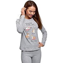 oodji Ultra Mujer Camiseta Estampada de Estar por Casa con Manga Raglán sin Etiqueta, Gris, ES 36 / XS