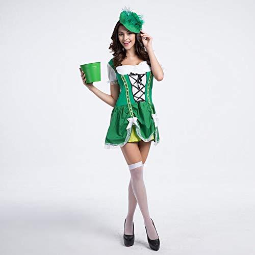 BGFDSV Adult Women Bauer Ernte Kostüm Glück der kurzen grünen Spitzenkleid Outfit für Mädchen XL Plus Size, grün, L (Women's Bauern Kostüm)
