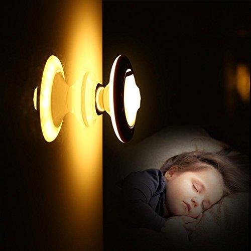 wuayi LED Nachtlicht Bewegungssensor Schritt Licht unglaublich verstellbar 360Grad drehbar STILVOLL, gelb (Lehre Hände Uhr)