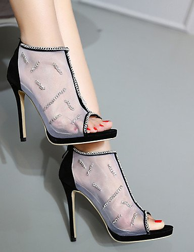WSS 2016 Chaussures Femme-Mariage / Habillé / Soirée & Evénement-Noir-Talon Aiguille-Talons / Bout Ouvert-Talons-Laine synthétique / Tulle black-us7.5 / eu38 / uk5.5 / cn38