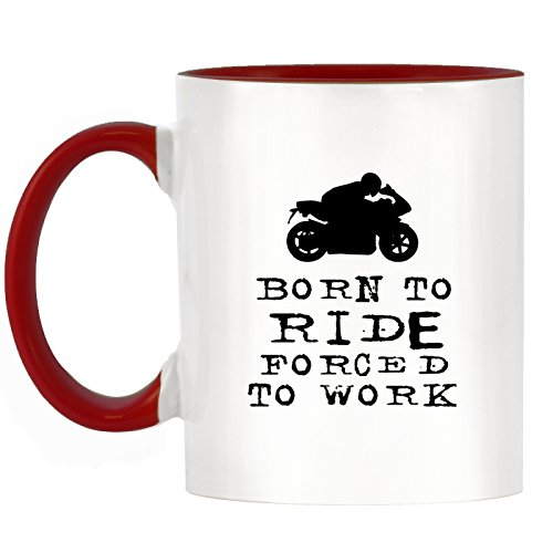 Born to Ride Forced to Work-Moto Design bicolore Mug avec poignée Rouge & INTERIEUR