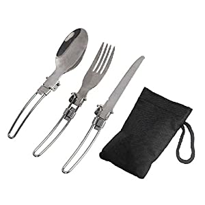 41CWQYlDH9L. SS300  - Greatlizard Stainless Steel Knife Fork Spoon For Travel Picnic Camping Foldable Tableware