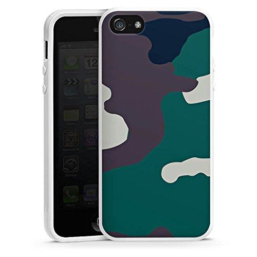 Apple iPhone 5 Housse Étui Silicone Coque Protection Camouflage Armée allemande Motif de camouflage Housse en silicone blanc