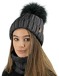 ce1fed86022 TOSKATOK Ladies Womens Winter Rib Seed Stitch Beanie Bobble Hat with Warm  Cosy Fleece Liner
