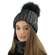 TOSKATOK® Gorro y Bufanda para Mujer de Invierno con Gorro y Forro Polar  cálido con a67d65867d6