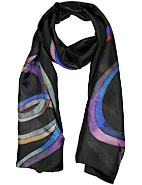 Pañuelo Bufanda de 100% Seda Pintado a Mano - Lazos con Varios Colores de Fondo