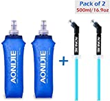 Azarxis Soft Flask Bottiglia d'Acqua Pieghevole Running Soft Gel Flask Reservoir Palmare Pieghevole TPU 250 500ml per Hydration Pack (500ml / 16,9oz - 2 Pacco con 2 cannucce Speed)