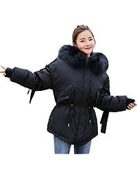 FNKDOR Doudounes Femmes d hiver Chaud Manteau à Capuche Épais Col Fourrure  Comfortable avec Capuche Parka Blouson Marron Noir… 93b4003c7344