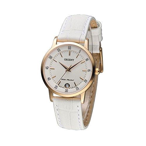 ORIENT WOMEN'S 34MM LEATHER BAND GOLD PLATED CASE QUARTZ WATCH FUNG6002W0