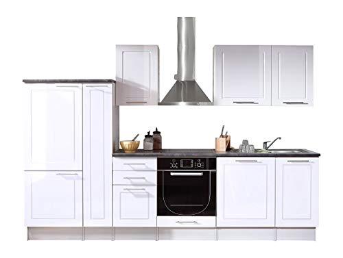 Stella Trading Welcome 6 Küche, Holzdekor, Weiß, ca. 300 x 204 x 60 cm