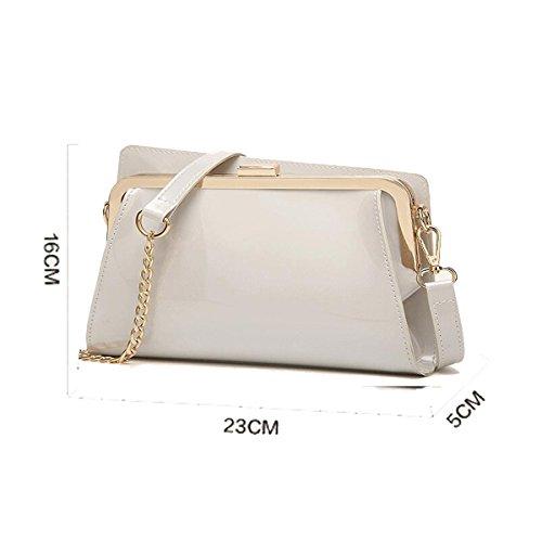 Modische Handtaschen Lackleder glänzend Handtaschen Kette kleine Tasche Schulter Messenger Bag Weiß