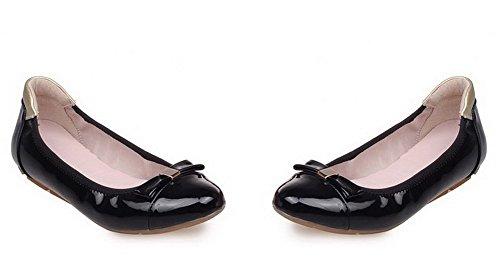 AllhqFashion Femme à Talon Bas Verni Couleur Unie Tire Rond Chaussures à Plat Noir