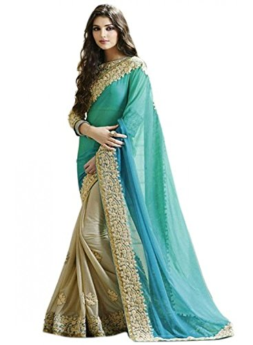 Esomic Cotton Silk Saree With Blouse Piece(29 SKY firoji hd_Blue_Free Size)