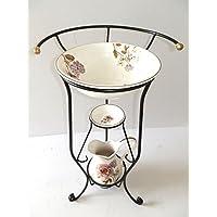 arterameferro Juego Baño Completo Lavabo de cerámica Toscana 3Piezas con Flores Hierro Forjado - Muebles de Dormitorio precios