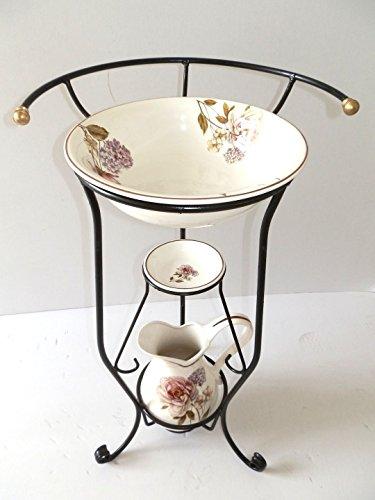 Set Toilette komplett Waschbecken aus Keramik Toscana 3Stück mit Blumen Schmiedeeisen