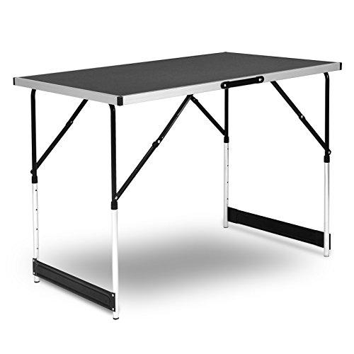 WOLTU® Campingtisch Klapptisch Gartentisch Arbeitstisch Balkontisch höhenverstellbar Aluminium Stahl MDF Schwarz CPT8121sz