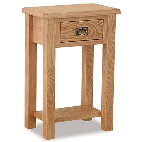 Roseland Furniture Surrey Oak Light Honey Waxed Telephone Table