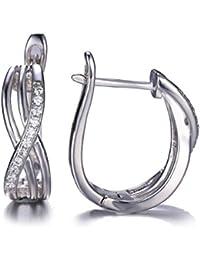 JewelryPalace 0.18ct Brillant Boucles d'Oreilles Clips Créoles Infini Femme en Argent Sterling 925 en Zircon Cubique de Synthèse CZ
