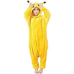 JunYito Pijama Pikachu Animale Disfraz Stitch Traje Niños Niña Adulto Mujer Invierno Kigurumi Unicornio Cosplay Halloween y Navidad (M, Pikachu Adultos)