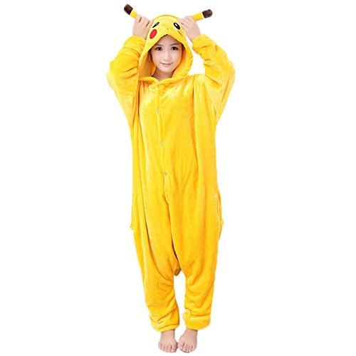 JunYito® Pyjamas Pikachu Stich Kinder Erwachsene Einhorn Pokemon Kostüme Schlafanzug (Pikachu Erwachsene, L) (Stich Kostüm Für Erwachsene)