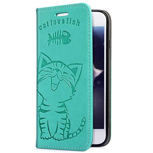 Uposao Handyhülle für iPhone XS Max Leder Tasche Schutzhülle Flip Case Cover Handytasche Lederhülle Niedlich Katze Muster Klapphülle Handytasche Lederhülle Mit Kartenfach,Grün